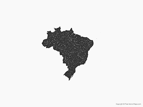 Free Vector Map of Brazil - Stamp
