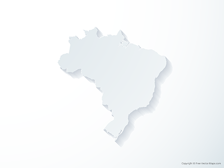 Free Vector Map of Brazil - 3D
