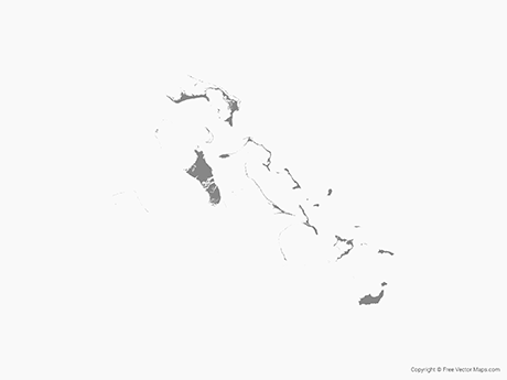 Free Vector Map of Bahamas - Single Color