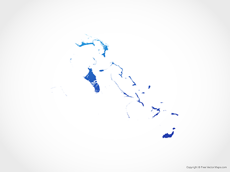 Free Vector Map of Bahamas - Blue
