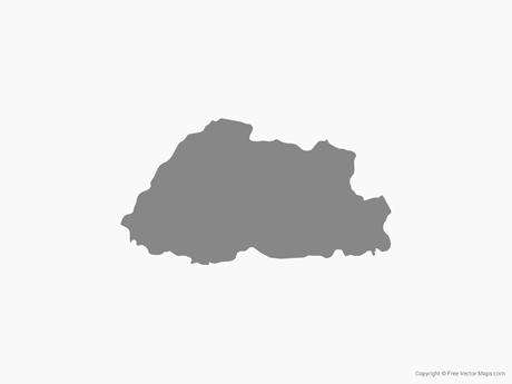 Map of Bhutan - Single Color