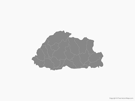 Free Vector Map of Bhutan with Districts - Single Color