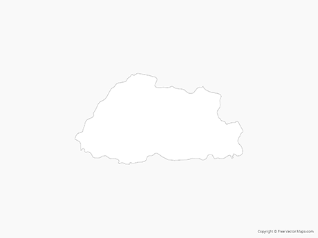 Free Vector Map of Bhutan - Outline