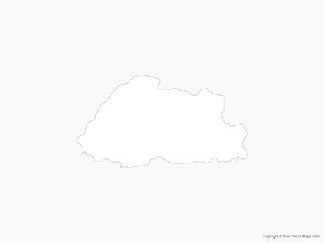 Map of Bhutan - Outline