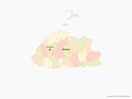 Vector Map Of Bhutan With Districts Multicolor Free Vector Maps - Map of bhutan with districts