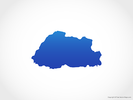 Free Vector Map of Bhutan - Blue