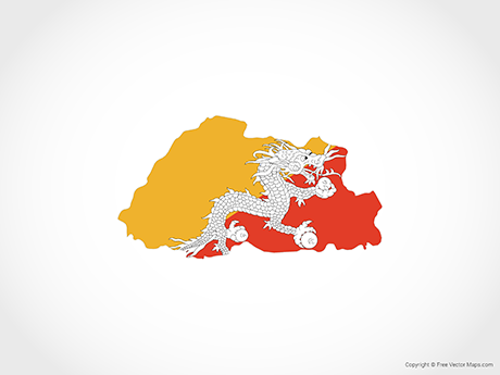 Free Vector Map of Bhutan - Flag