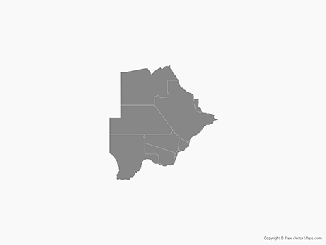 Free Vector Map of Botswana with Districts - Single Color