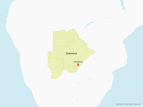 Free Vector Map of Botswana with Districts