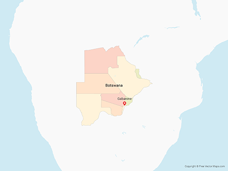 Free Vector Map of Botswana with Districts - Multicolor