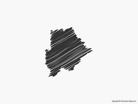 Free Vector Map of Botswana - Sketch