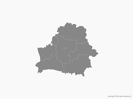 Free Vector Map of Belarus with Oblasts - Single Color