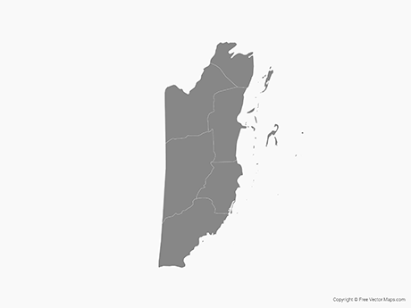 Map of Belize with Districts - Single Color