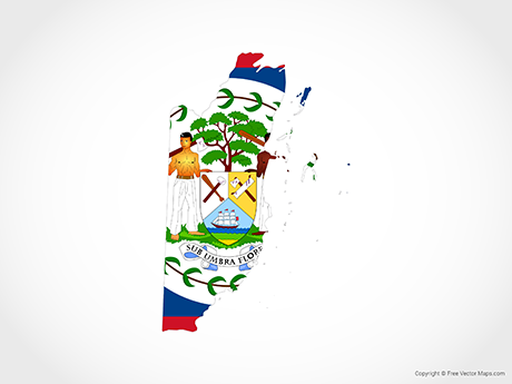 Free Vector Map of Belize - Flag