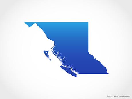 Free Vector Map of British Columbia - Blue