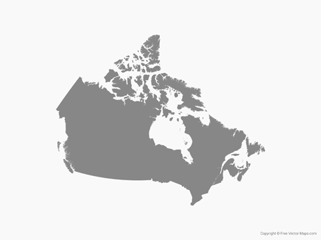 Free Vector Map of Canada - Single Color