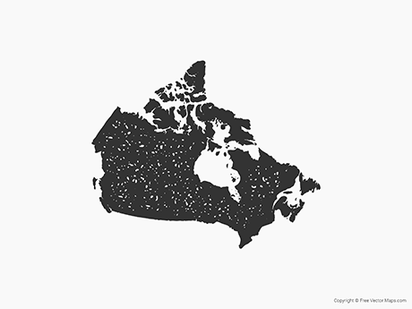 Free Vector Map of Canada - Stamp
