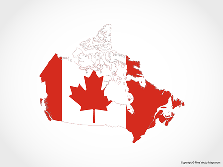 Free Vector Map of Canada - Flag