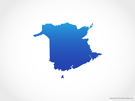 Free Vector Map of New Brunswick - Blue