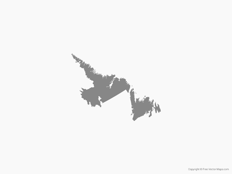 Free Vector Map of Newfoundland and Labrador - Single Color