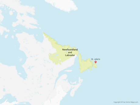 Free Vector Map of Newfoundland and Labrador
