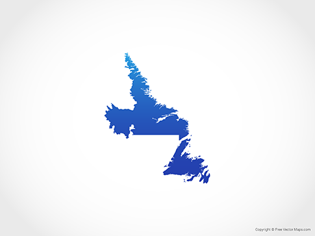 Free Vector Map of Newfoundland and Labrador - Blue