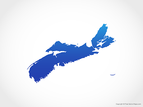 Free Vector Map of Nova Scotia - Blue