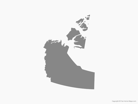 Free Vector Map of Northwest Territories - Single Color