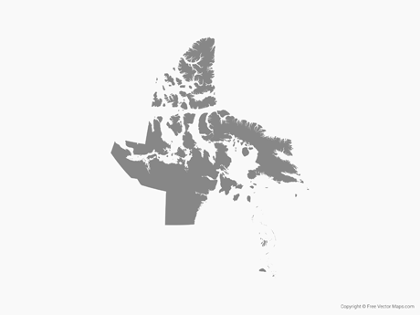 Free Vector Map of Nunavut - Single Color
