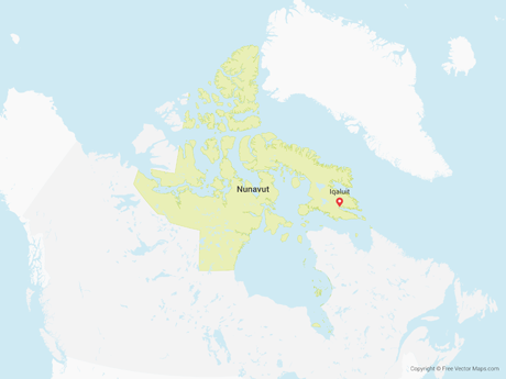 Free Vector Map of Nunavut