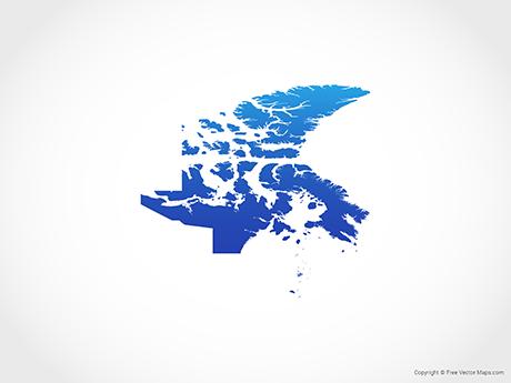 Free Vector Map of Nunavut - Blue