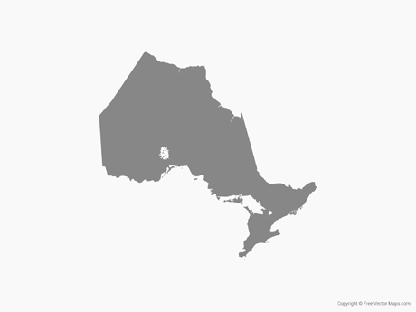 Free Vector Map of Ontario - Single Color