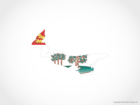 Free Vector Map of Prince Edward Island - Flag