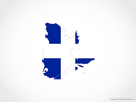 Free Vector Map of Quebec - Flag