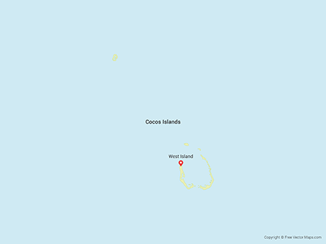 Free Vector Map of Cocos (Keeling) Islands