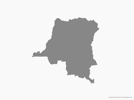 Map of Democratic Republic of the Congo - Single Color