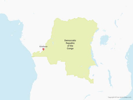 Free Vector Map of Democratic Republic of the Congo