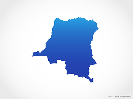 Free Vector Map of Democratic Republic of the Congo - Blue