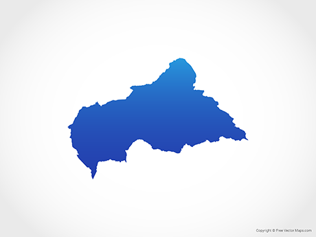 Free Vector Map of Central African Republic - Blue