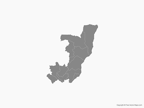 Free Vector Map of Republic of the Congo with Departments - Single Color