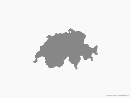 Free Vector Map of Switzerland - Single Color