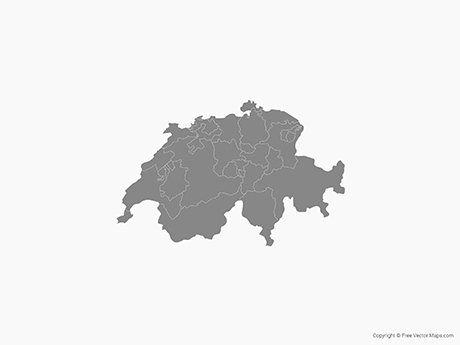 Free Vector Map of Switzerland with Cantons - Single Color