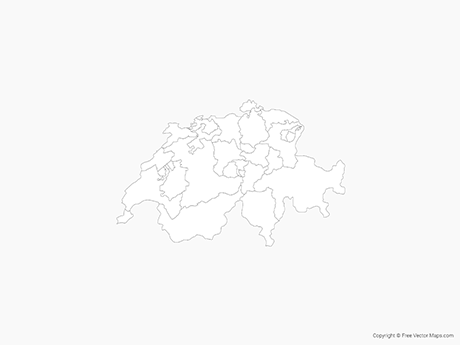 Free Vector Map of Switzerland with Cantons - Outline