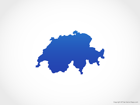 Free Vector Map of Switzerland - Blue