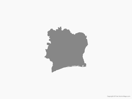 Free Vector Map of Ivory Coast - Single Color