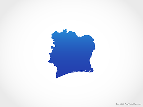Free Vector Map of Ivory Coast - Blue