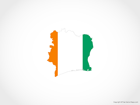 Free Vector Map of Ivory Coast - Flag