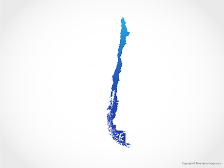 Free Vector Map of Chile - Blue