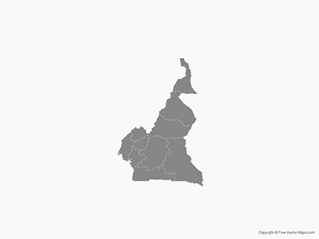 Free Vector Map of Cameroon with Regions - Single Color