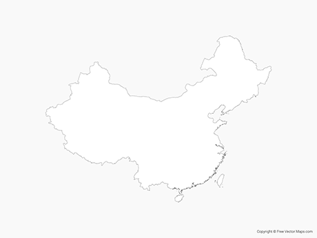 Free Vector Map of China including Taiwan - Outline